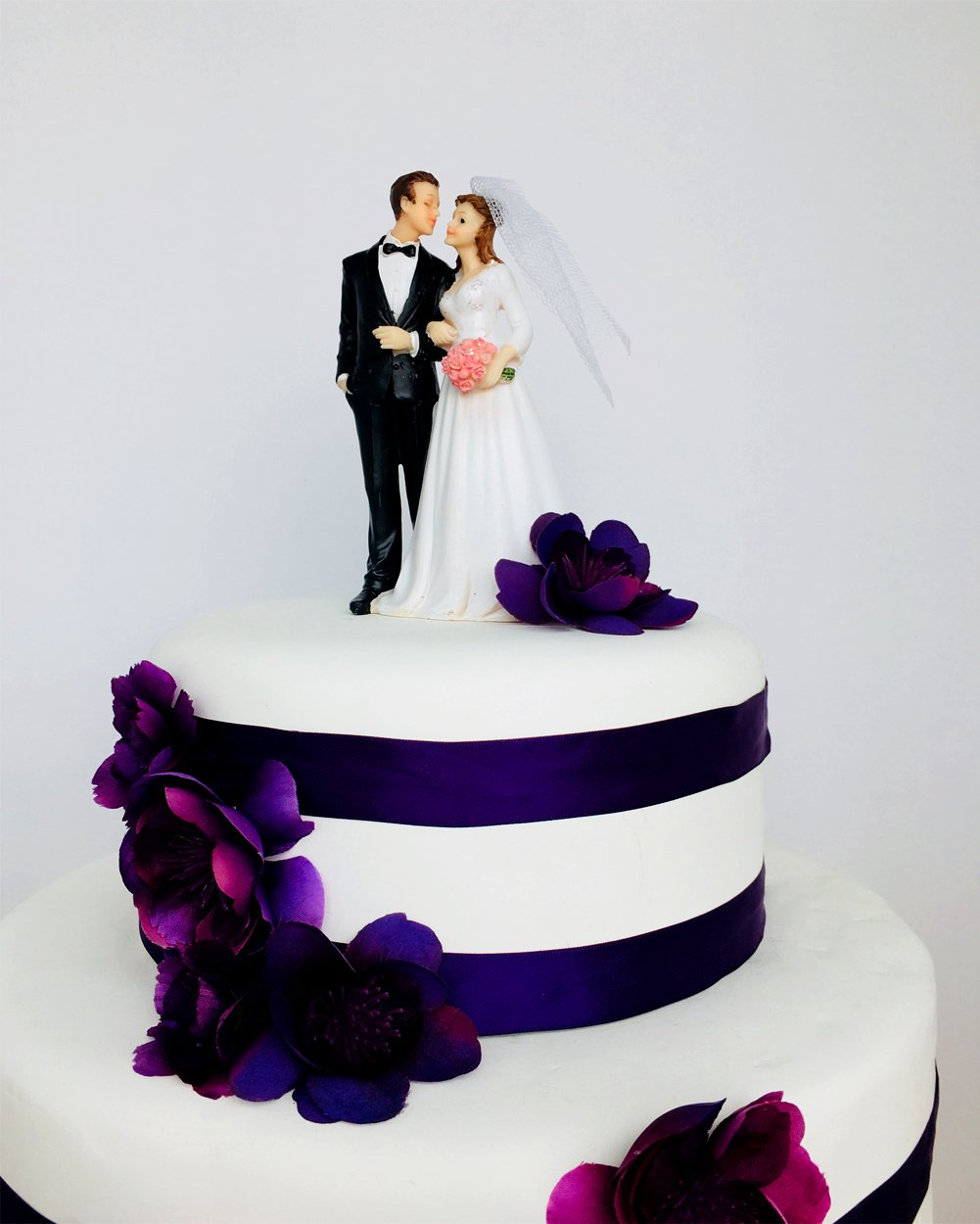 Wedding Cake Topper Funny & Romantic Groom And Bride holding hands with flowers Figurine | Toppers For Wedding Cakes Decoration | Hand Painted & Unique Figurines by zy retail (Image #5)
