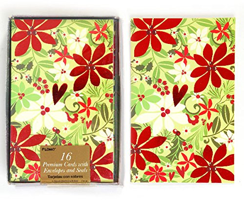 DDI 2127658 Flower Print Boxed Christmas Cards - Count of 16 - Case of 12