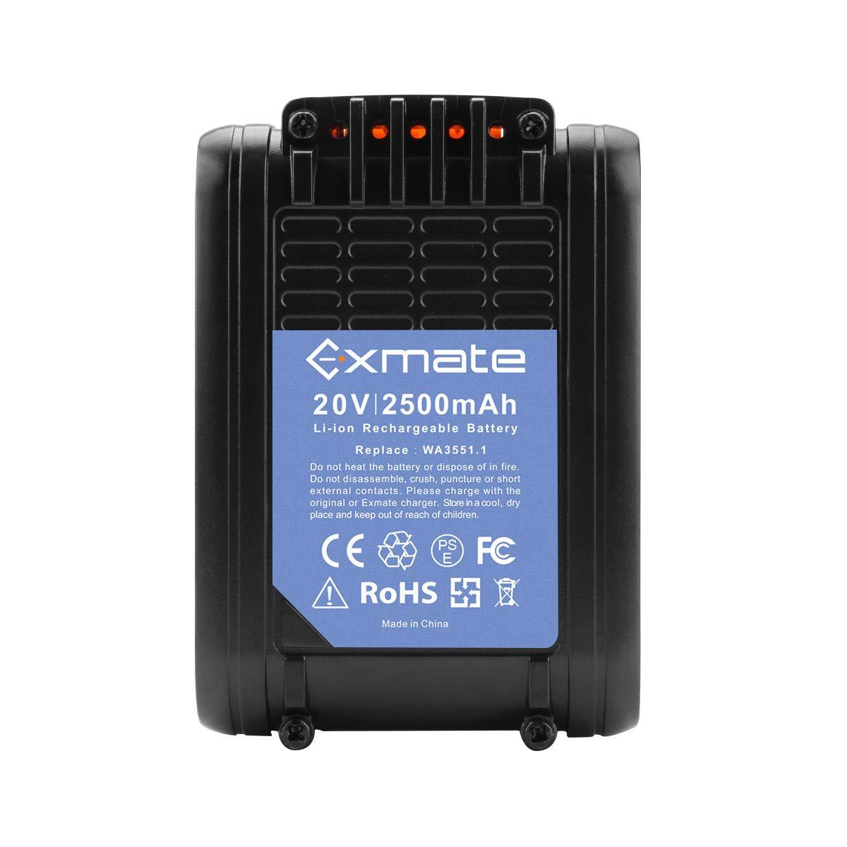 Exmate Batería de repuesto Li-ion 20V 2500mAh para WORX WA3551.1 ...