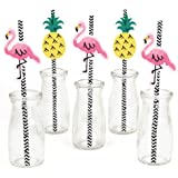 Flamingo Paper Straw Decor - Party Like a Pineapple - Striped Decorative Straws - Set of 24