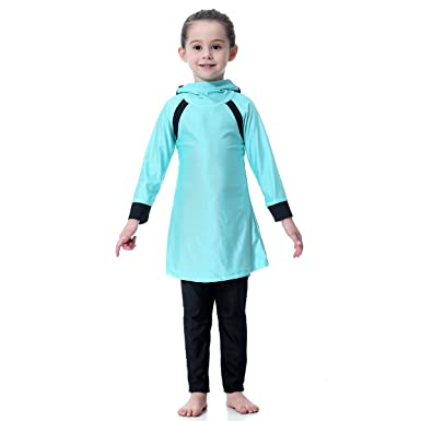529ae618d3ea6 Feicuan Girl's Kids Swimsuit Muslim Swimwear with Cap Swimming Set Full  Cover Long Sleeve Hijab Islamic