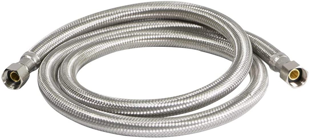 FlexCraft 26615-NL, Ice Maker Supply Line, Connects Ice Maker to Water Supply, Ice Maker Hose With 1/4 In Fittings On Both Ends, Braided Stainless Steel 15 Ft