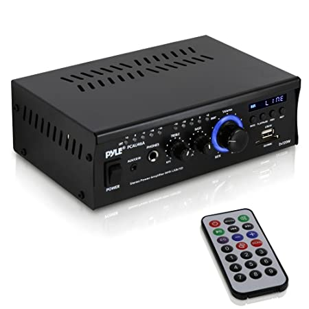 Review Home Audio Power Amplifier System - 2x120W Dual Channel Theater Power Stereo Receiver Box, Surround Sound w/USB, RCA, AUX, LED, Remote, 12V Adapter - For Speaker, iPhone - Pyle PCAU46A