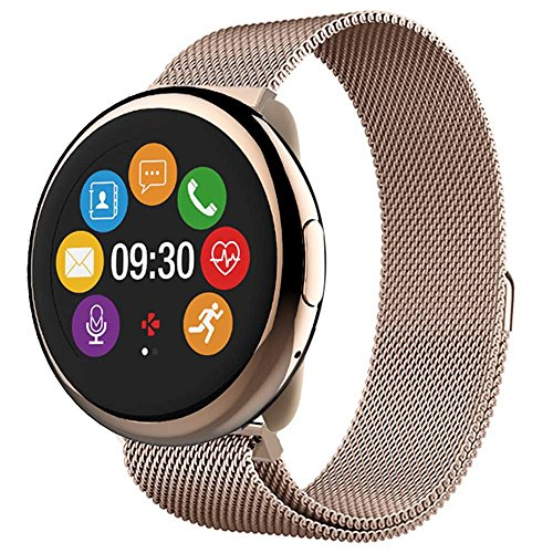 MyKronoz ZeRound2 HR Elite Smartwatch with Heart Rate Monitoring and Smart Notifications, Swiss Design, iOS and Android - Shiny Pink Gold / Milanese Pink Gold by MyKronoz (Image #3)