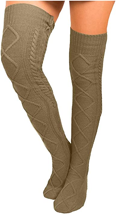 Women Cable Knit  Long Boot Socks Over Knee Thigh High School Girl Stocking LA