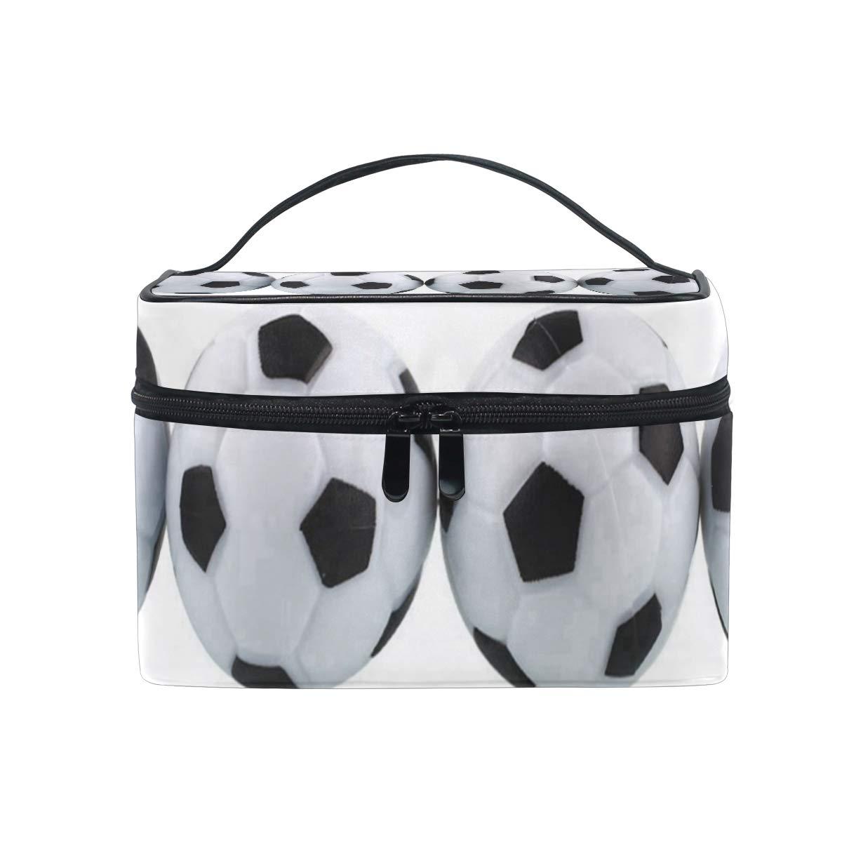 51808a82893d Amazon.com : Makeup Bag White Soccer Balls Cosmetic Bag Portable ...