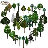 Bememo 32 Pieces Mixed Model Trees Model Train Trees Railroad Scenery Diorama Tree Architecture Trees for DIY Scenery Landscape, 1.4-5.9 Inch