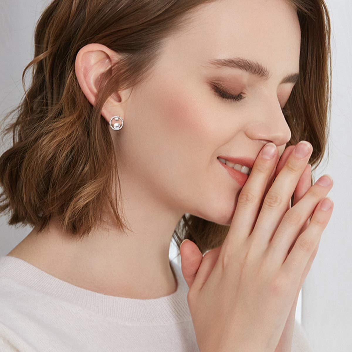 Circle Stud Earrings Sterling Silver Pearl Hoops Rope Circle Ear Studs for Women Girls (Circle Stud Earrings) by POPLYKE (Image #2)