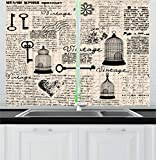 Ambesonne Old Newspaper Decor Kitchen Curtains, Grunge Pattern with Bird Cages Keys Heart Shapes and Flower, Window Drapes 2 Panel Set for Kitchen Cafe, 55 W X 39 L Inches, Black Cream Baby Blue Review