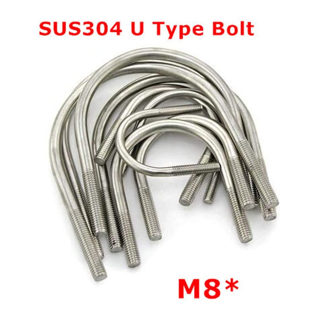 6Pcs M8 304 Stainless Steel U Bolt 8Mm U Type Pipe Clamp Stirrup Screw M8 48mm 6pcs by NSSTK