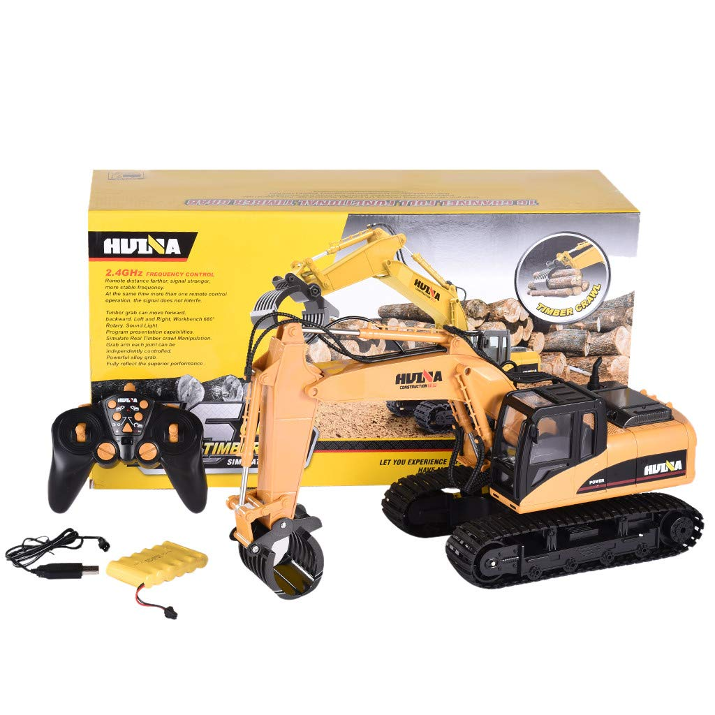 Roisay Construction Vehicle Series - SimulationToys 1570 1/14 2.4G 16CH Alloy Grab Wood Excavator Engineering RC Car RTR Multi-Function Toy American Warehouse Fast Logistics