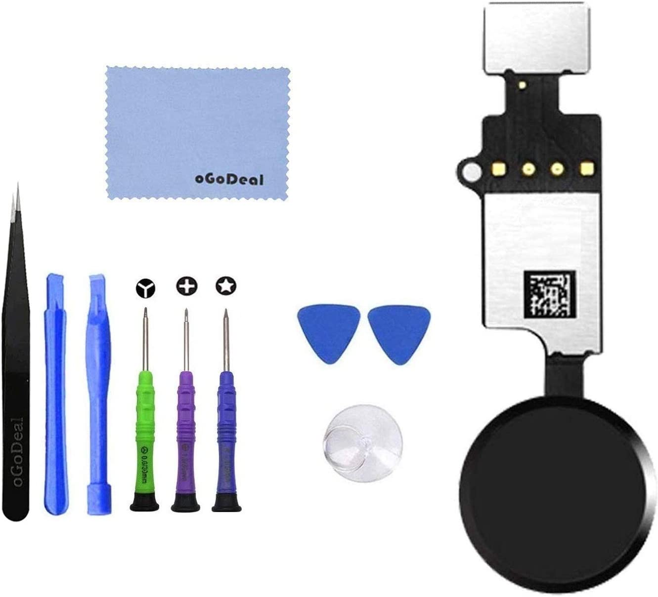 oGoDeal Home Button Replacement for iPhone 7 7 Plus 8 8 Plus Main Key Flex Cable Assembly with Return Function Without Touch ID-Black