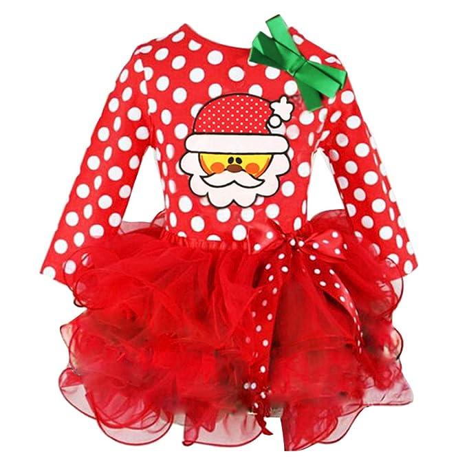 08d364b4c Bebé Niña Navidad Vestido a Rayas Papá Noel Imprimir Tutú Vestidos Niña  Invierno Ropa Manga Larga Princesa Vestido Bowknot Manga Larga Partido Ropa  Falda: ...