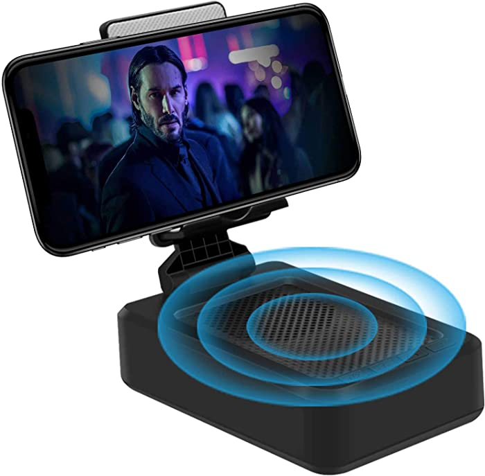 Bluetooth Speaker - Wireless Bluetooth Speaker with Phone Stand, HD Surround Sound Bluetooth Speaker with Adjustable Phone Holder for Desk, Suitable for Home and Outdoors