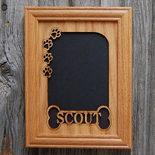 - 5x7 Personalized Dog Picture Frame with Name - Bone & Paw Prints