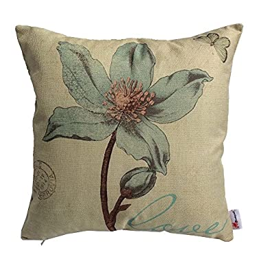 Monkeysell Lotus Leaf Butterfly Flowers Pattern Cotton Linen Throw Pillow Case Cushion Cover Home Sofa Decorative 18 X 18 Inch (S042A2)
