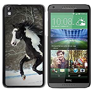 Design for Girls Plastic Cover Case FOR HTC DESIRE 816 Horse Colorful Indian White Brown Winter Free OBBA
