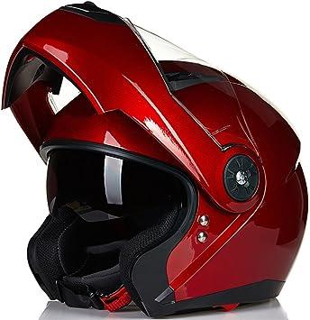 ILM 8 Colors Motorcycle Modular Flip up Dual Visor Helmet DOT L, Matte Black
