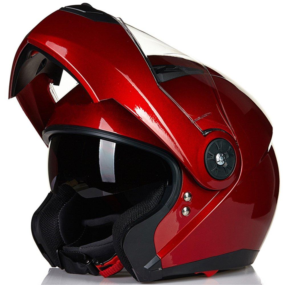 ILM 8 Colors Motorcycle Modular Flip up Dual Visor Helmet DOT (L, Red)