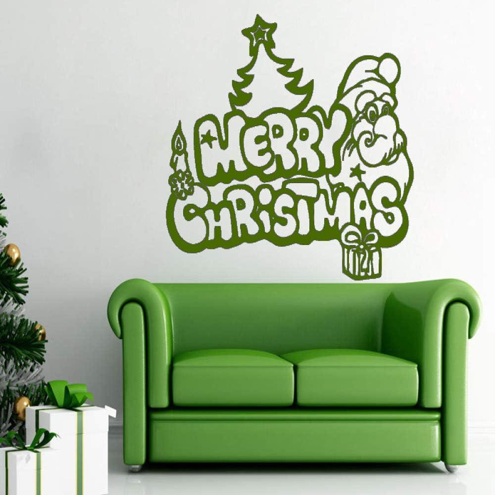 xingbuxin Wall Decal Merry Christmas Vinyl Wall Stickers para Habitaciones de niños Regalos extraíbles Santa Claus Christmas Tree Home Decor 5 57x77cm