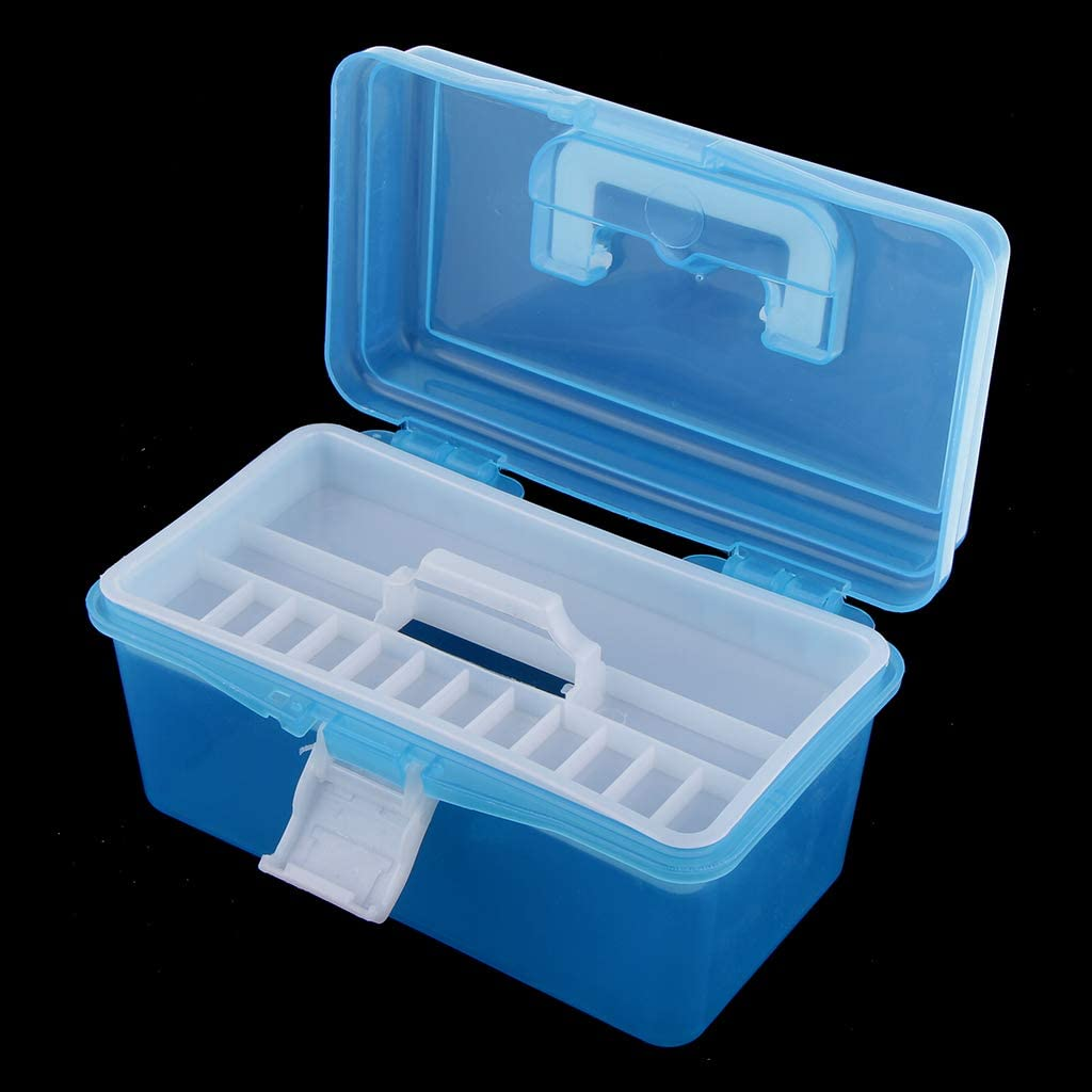 Craft Supplies Fishing Tackle Sewing notions and More Organized Flameer Large Box Plastic Art Supply Storage Tool Box Container Case Trays Keep Your Paint