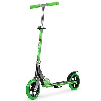 Fascol Scooter para Dos Ruedas para Adultos Adecuado para niños Mayores de Cinco años Patinete Plegable para Kick Máxima Carga 75 kg, Verde: Amazon.es: ...