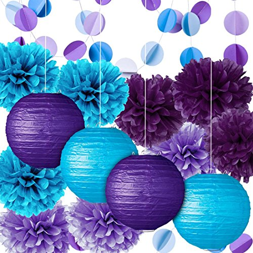 Fadesun Party Decoration Kit Purple Blue Tissue Paper Pom Poms Flowers Papers Lanterns Circle Garland Birthday Wedding Christening Frozen Theme Party Decorations for Adults Boys -