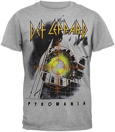 Camiseta FEA Merchandising Def Leppard Target Pyromania para Hombre, Gris Jaspeado, Talla X: Amazon.es: Ropa y accesorios