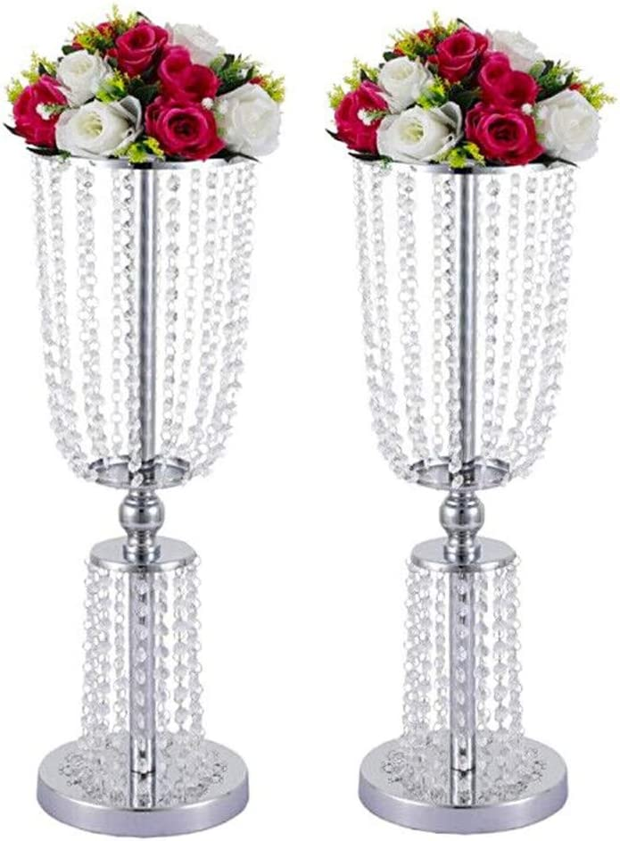 """Lovecat 2 Pcs of Gold Wedding Centerpieces, Silver Flower Vases, Metal Centerpiece Vases, Wedding Road-Leading Flower Stands, 60cm/23.62"""" Home Decor Vases with 2-Tier Acrylic Crystal Strings (Silver)"""