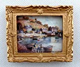 Melody Jane Dolls House Harbour Scene Picture Painting Gold Frame Miniature Accessory