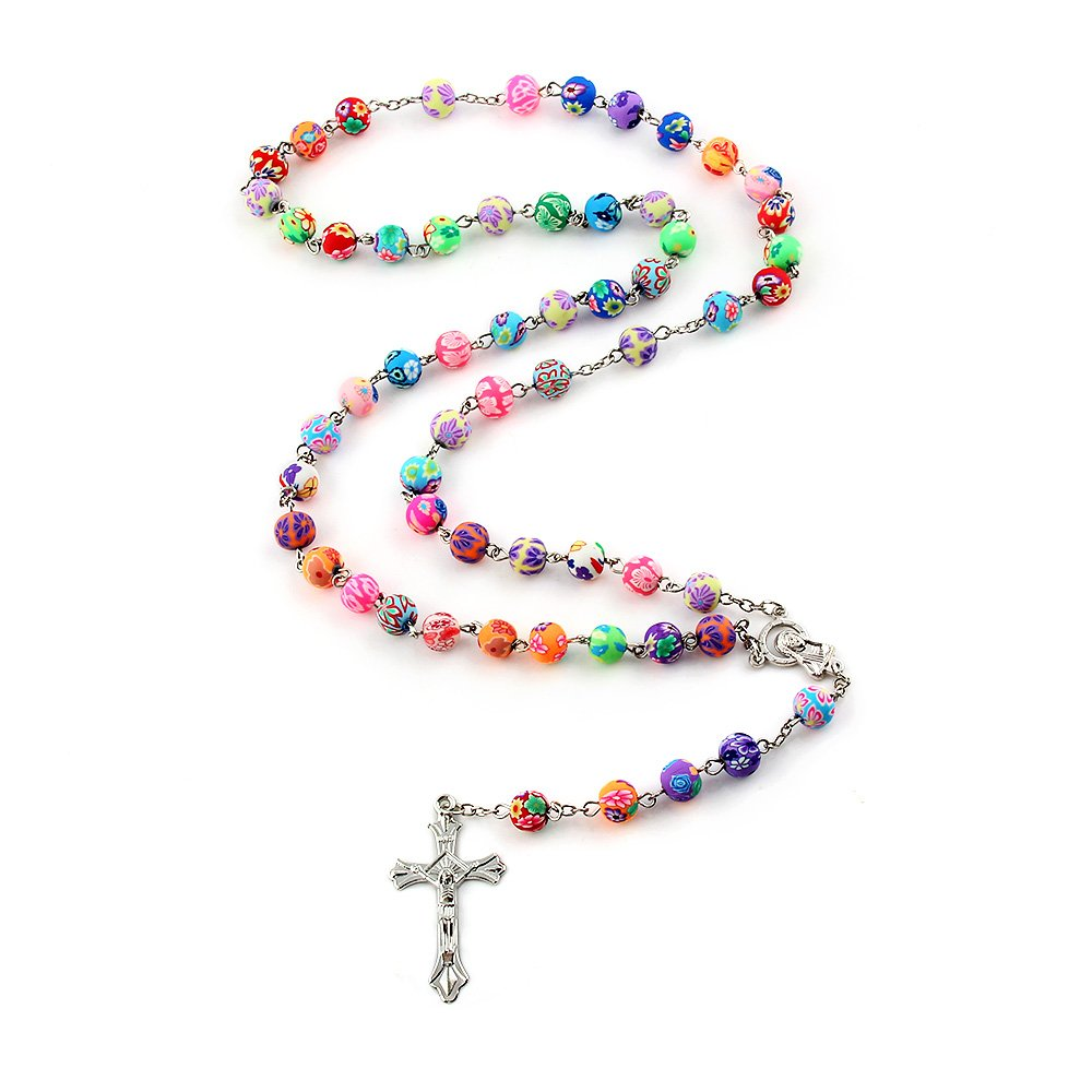 Amazon yeyulin polymer clay bead rosary long necklace alloy amazon yeyulin polymer clay bead rosary long necklace alloy cross virgin christian catholic jewelry for women jewelry izmirmasajfo