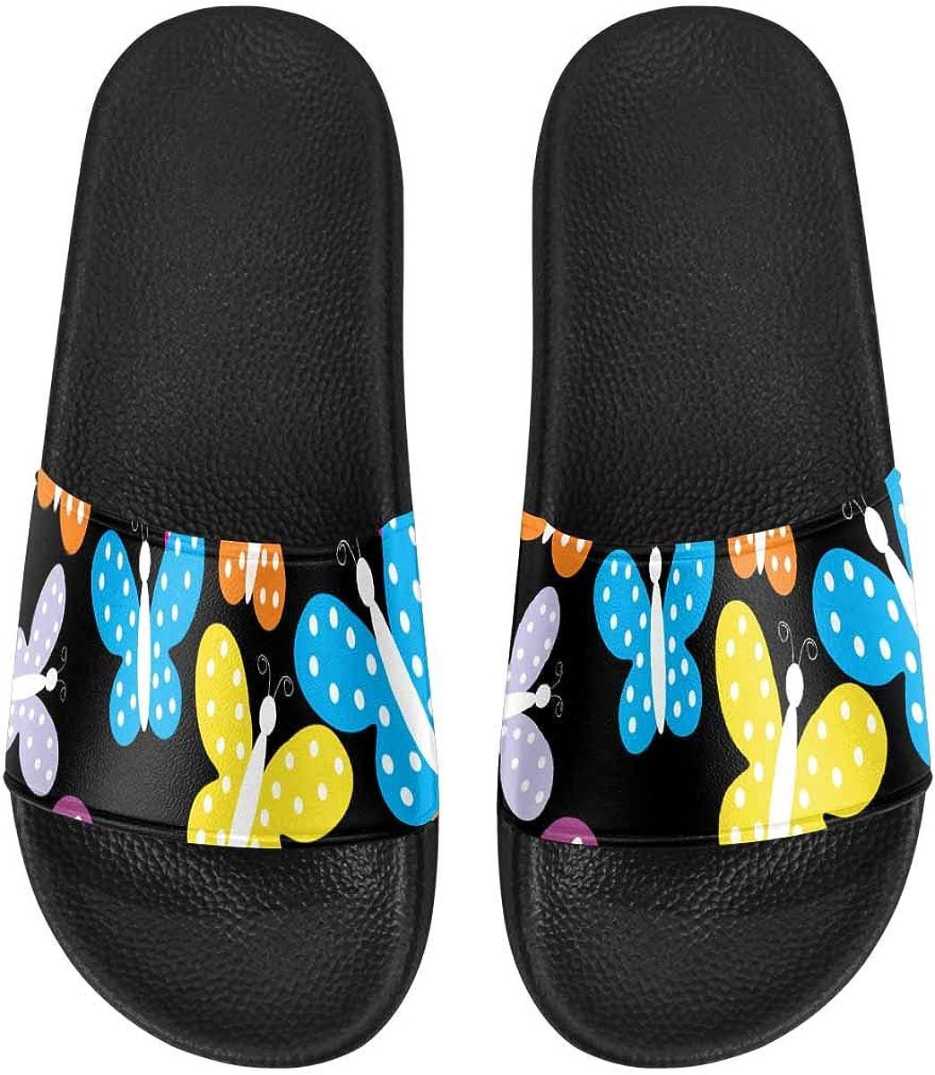INTERESTPRINT Womens Slip-on Shoes Beach Pool Shower Slippers US6~US12