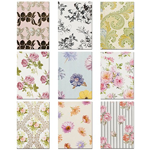 "PAPTEL Premium All Occasion Handmade Note Cards - Blank Greeting Card Assortment - Flower of Love - 5"" x 3.5"" - 9 Different Designs – Including Envelopes - Set of (Handmade Note Card Set)"