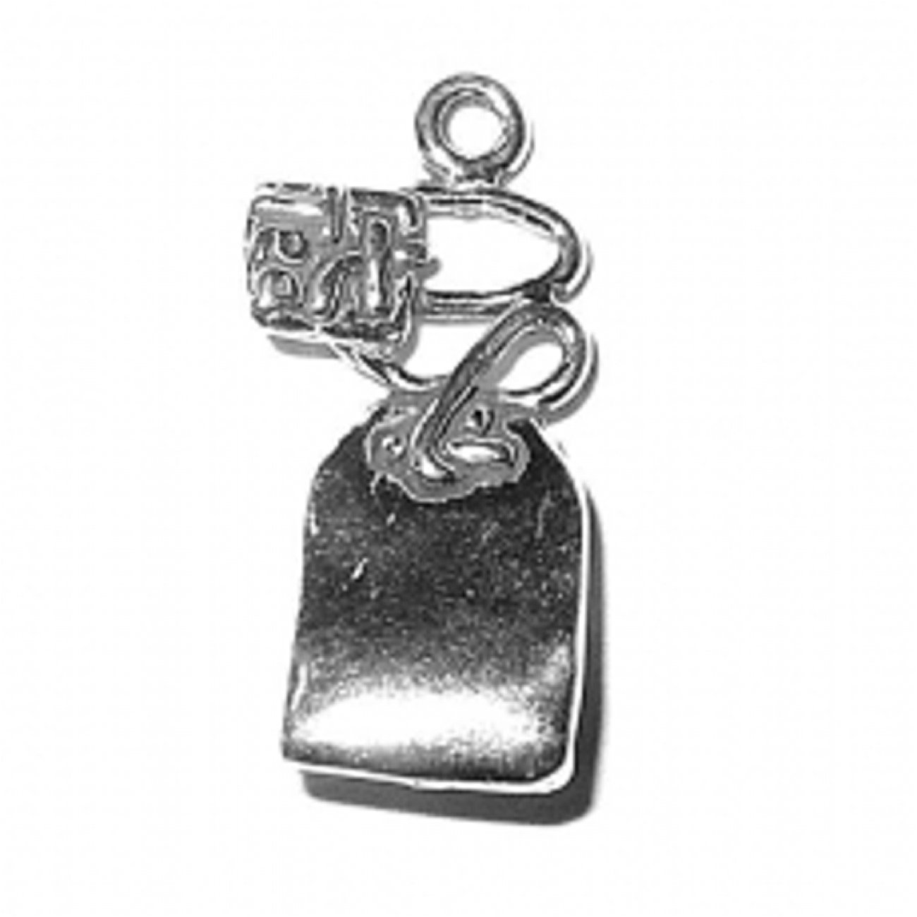 Sterling Silver Girls .8mm Box Chain 3D Tea Bag Pendant Necklace