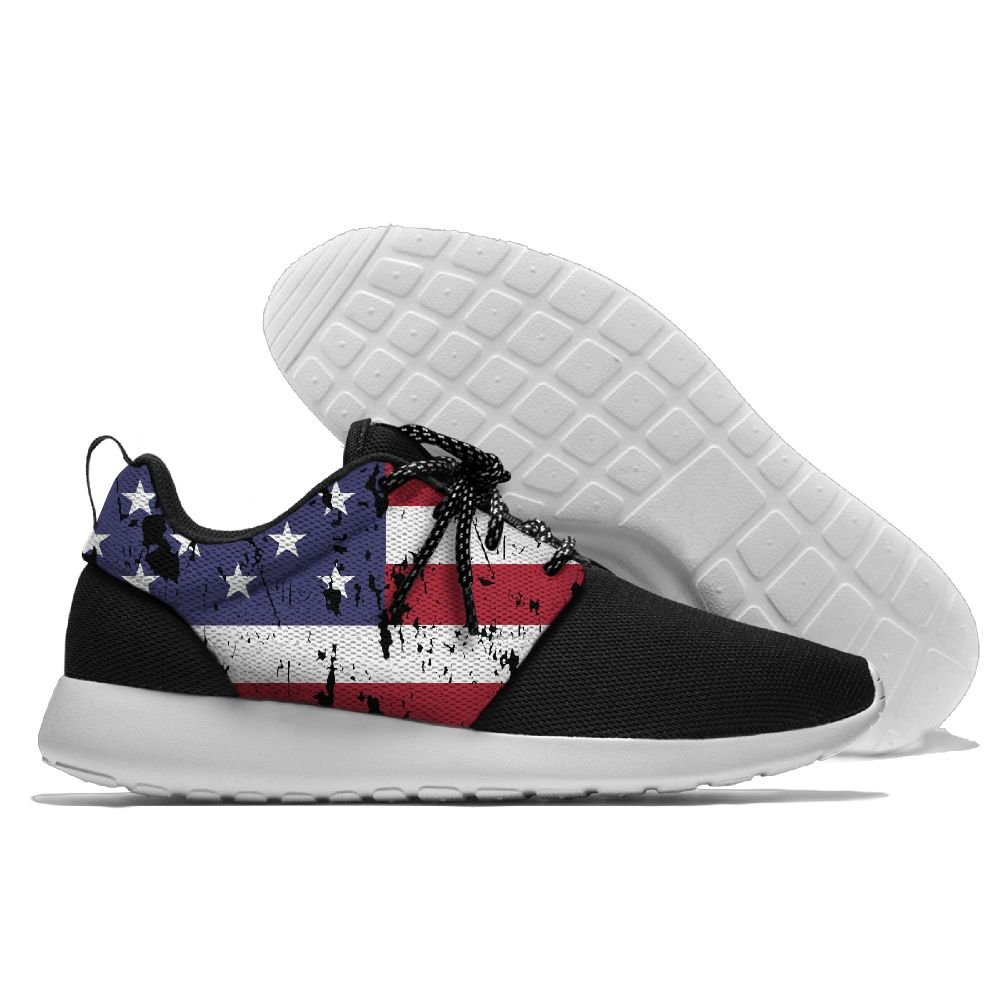 FLYOCEAN Distressed American Flag Mens Leisure Lightweight Running Sports Sneakers Mesh Jogging Shoes