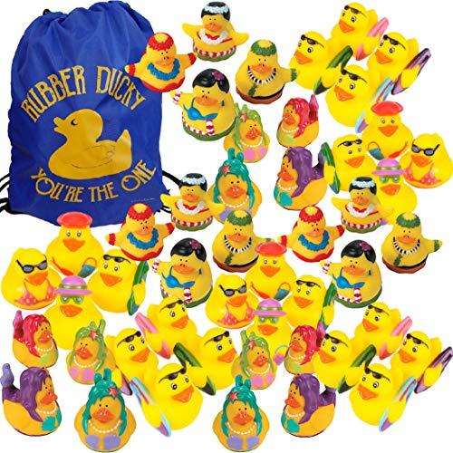Summer Beach Pool Party Rubber Ducks Luau Party Favors (Bulk Pack of 48 Ducks) + 1 Rubber Duck Drawstring Bag - Summer Rubber Duckies - Beach Bums, Surfers, Mermaids, Hula Dancers]()