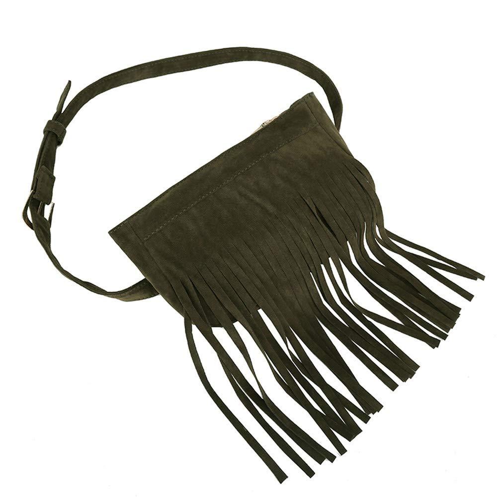 Tantisy ♣↭♣ Satchels for Women, Women's Fashion Tassel Pure Color Square Lock Messenger Bag Chest Bag Waist Bag Green by Tantisy ♣↭♣ (Image #3)