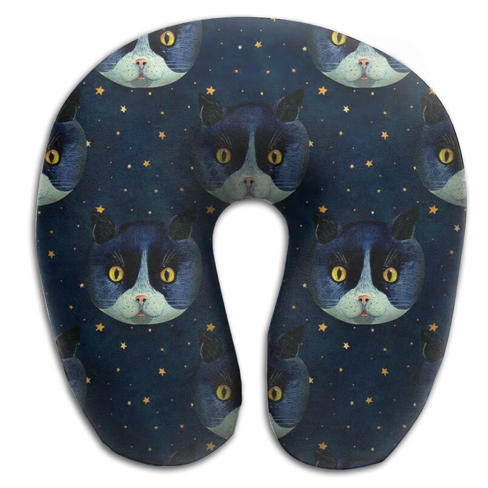 Artistic Cat Lightweight Neck Pillow Comfortable For Boy Driving Spa Memory Foam U Shaped Soft Neck Pillow