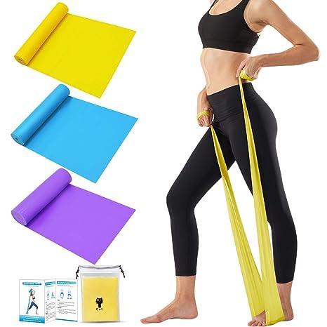 Tompig Bandas Elasticas Fitness Set de 3, Cintas Elásticas con 3 Niveles de Resistencia, Bandas Elásticas para Fisioterapia, Yoga, Pilates, ...