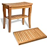 Bamboo Shower Seat Bench with Bathroom Floor Mat for Indoor and Outdoor Decor, Made of 100% Natural Bamboo