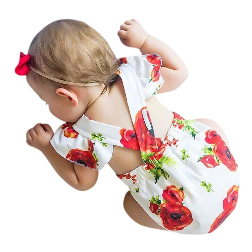 Putars Baby Girls' Cotton Floral Print Girls Outfits Clothes Romper Jumpsuit