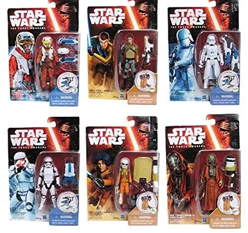 """Star Wars Ep VII The Force Awakens 3.75"""" Missions Build-A-Weapon Snow and Desert Figure Set of 6"""