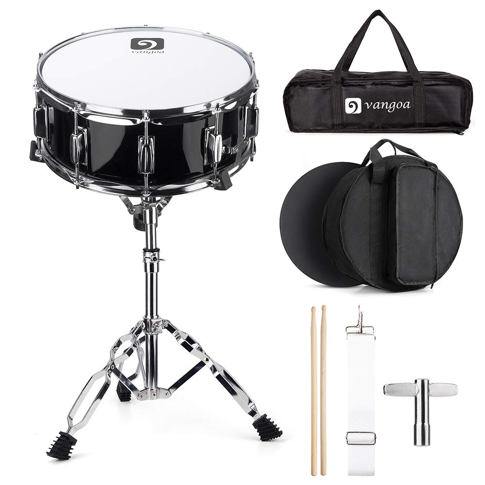Vangoa Snare Drum Set, 14 Inch, 10 Lugs, Wooden Shell with Case, Practice Pad, Drum Stand, Drum Stand Carry Bag, Sticks, Tuning Key, Strap by Vangoa