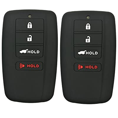 Coolbestda 2Pcs Rubber 4buttons Smart Key Fob Full Protector Remote Skin Cover Case Keyless Jacket for Acura RLX RDX MDX ILX TLX Black: Automotive