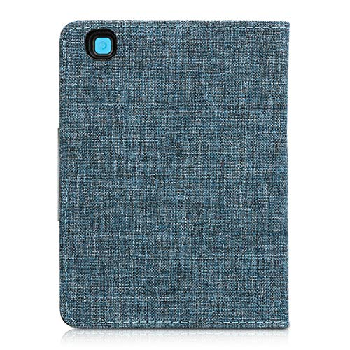 kwmobile Case Compatible with Kobo Aura Edition 2 - Book Style Fabric e-Reader Cover Flip Folio Case - Fabric Blue