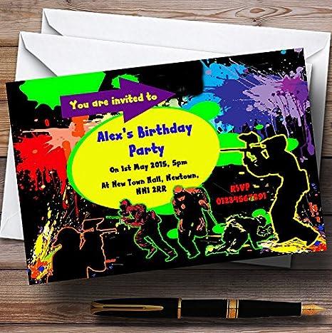 Paintball Laser Tag personalizado invitaciones para fiesta ...