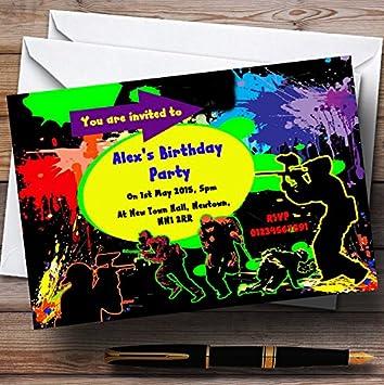 Paintball Laser Tag Personnalise Invitation De Fete D Anniversaire
