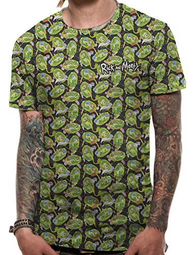 I-D-C Rick and Morty-Pattern Repeat, Camiseta para Hombre: Amazon.es: Ropa y accesorios