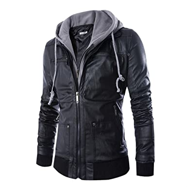 775a1bcea436 Beskie Leather Jackets for Men Hooded Faux PU Leather Jacket Hoodies Motorcycle  Biker Coats Outwear at Amazon Men's Clothing store: