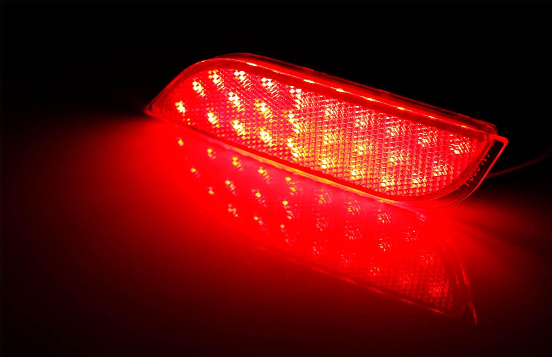 iJDMTOY Red Lens 26-SMD LED Bumper Reflector Lights for Subaru 2008-14 WRX//STI Function as Rear Fog 13-up XV Crosstrek Tail//Brake Lamps iJDMTOY Auto Accessories Full LED Rear Bumper Reflex Lamp Housing 08-up Impreza